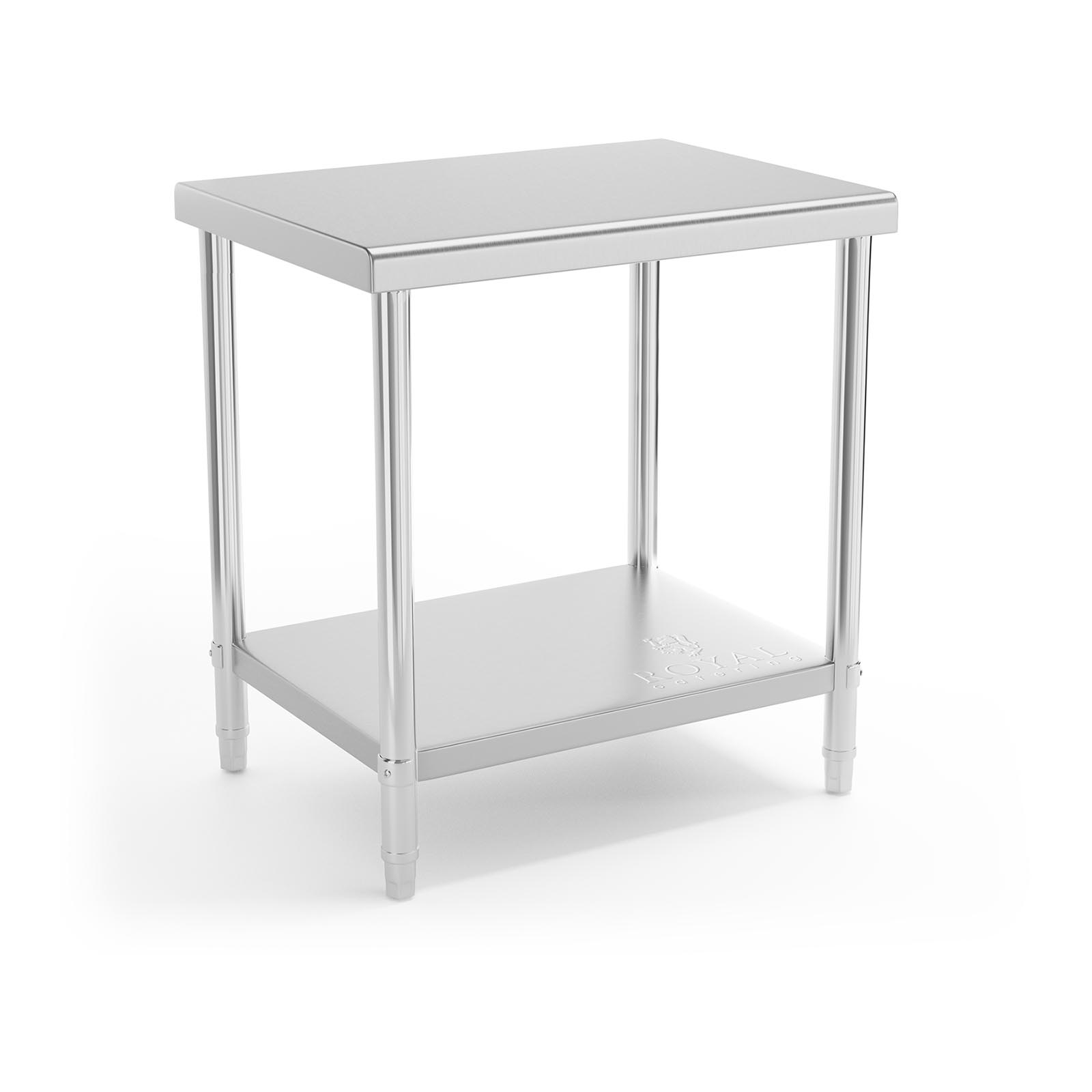 STAINLESS STEEL TOPPED WORK BENCH TABLE 2 SHELVES 11 CM 120 x 60 CM 110 KG LOAD